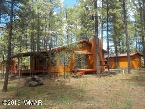 Main cabin, guest house & log sided building.