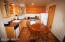 The One bedroom cabin has a cozy, eat-in kitchen
