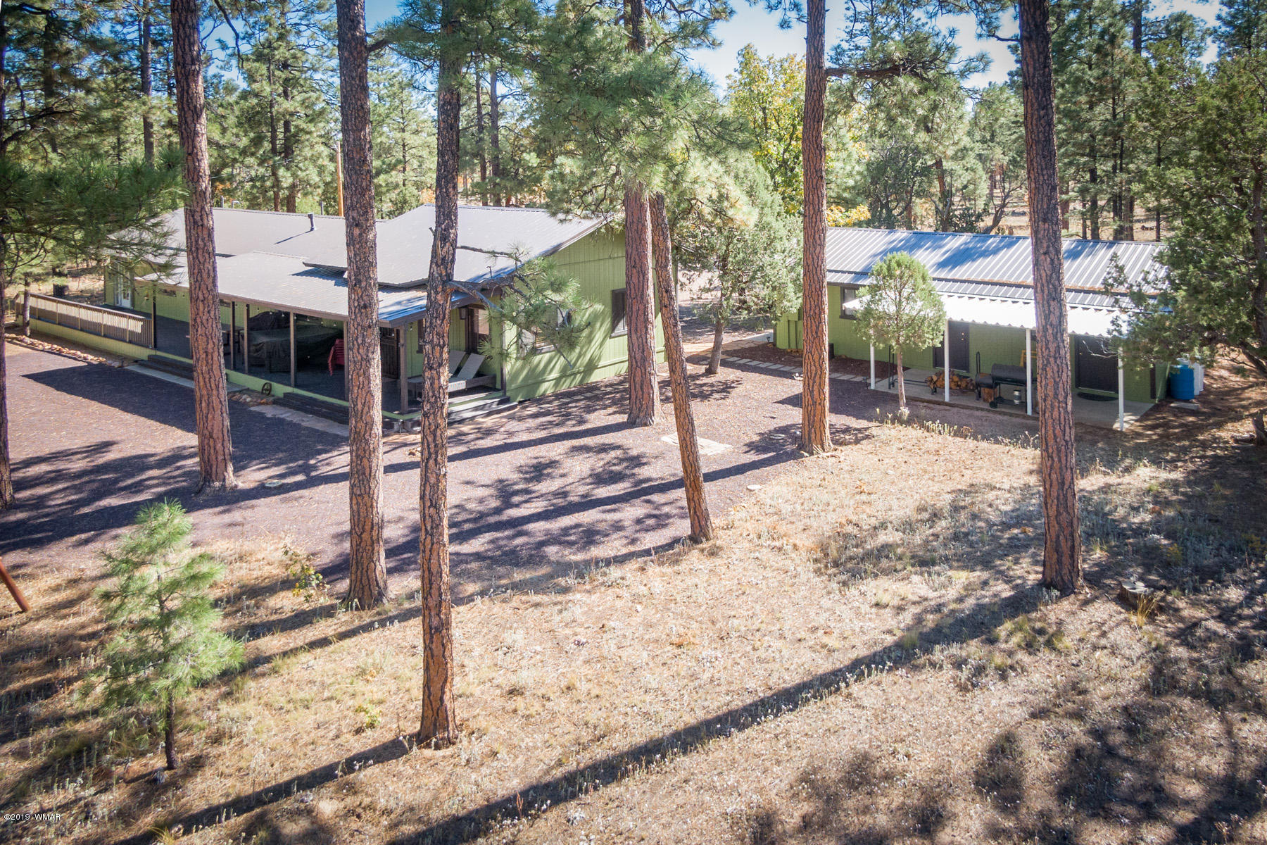 Priced below appraisal!  Quiet, secluded & backing national forest! This ranch style single level home has 3 bedrooms, 2 baths and tons of towering old growth Ponderosa Pine trees. Suitable for the entire family with large living room, spacious kitchen with tons of cabinets and level lot with room to roam. New metal roof, new paint inside & out, new flooring, new wood interior doors & trim, plus updated lighting & fixtures & new trex decking spanning the entire length of the home for you to enjoy the sound of the wind whistling through the pines, family BBQ's and OK for horses too! There is a HUGE detached 2 car garage with storage room plus a separate workshop and room for garden tools (both having separate entrances). Shared well with 2 other property owners but has it's own insulated
